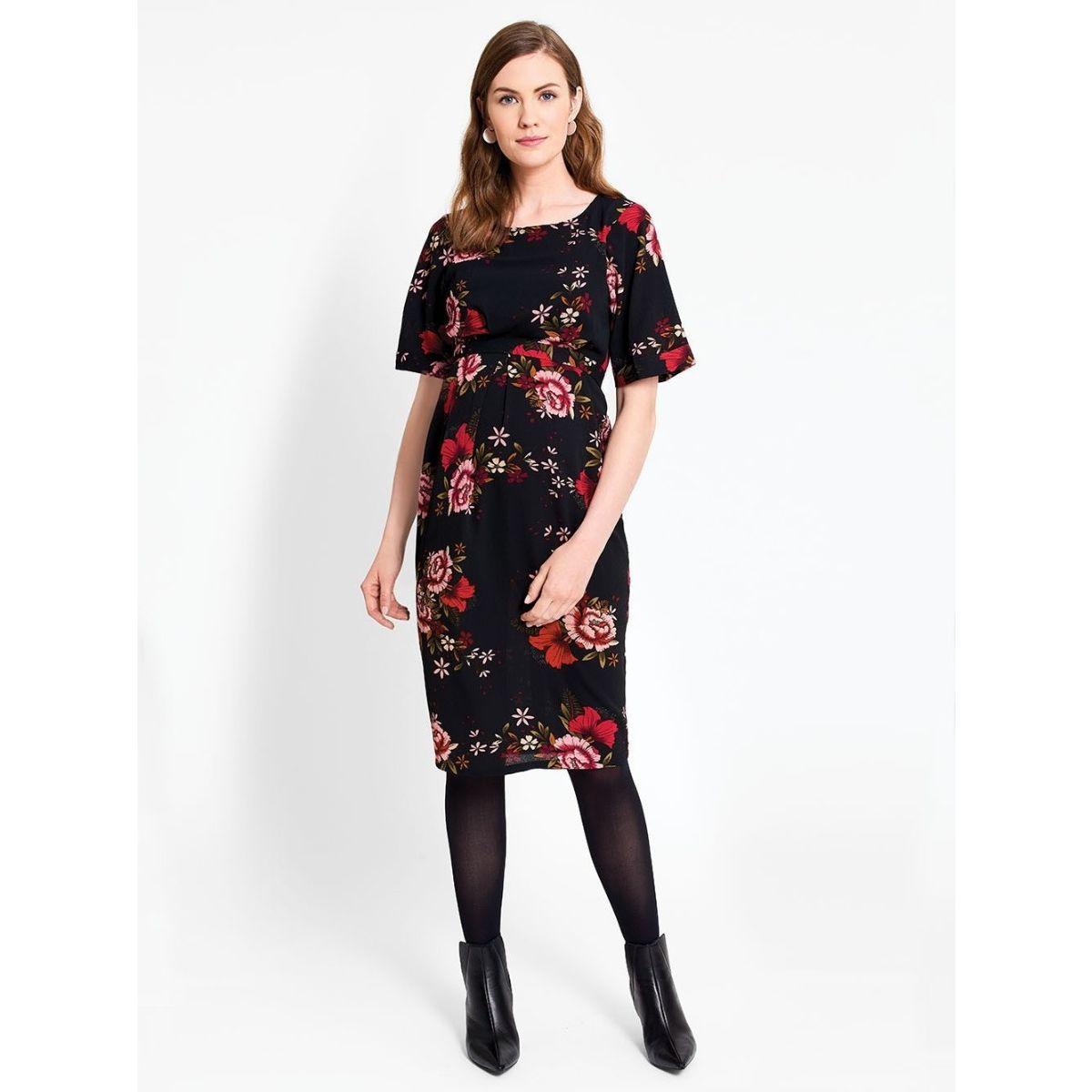 055cc28f9 Vestido Premamá y Lactancia Negro Estampado Floral - ShopMami