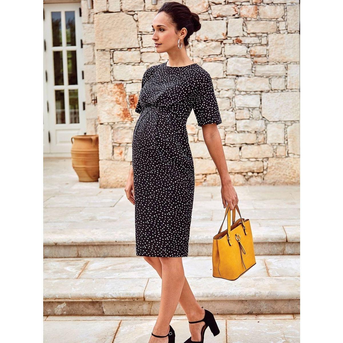 142292f85 vestido premamá y lactancia plisado Negro - ShopMami