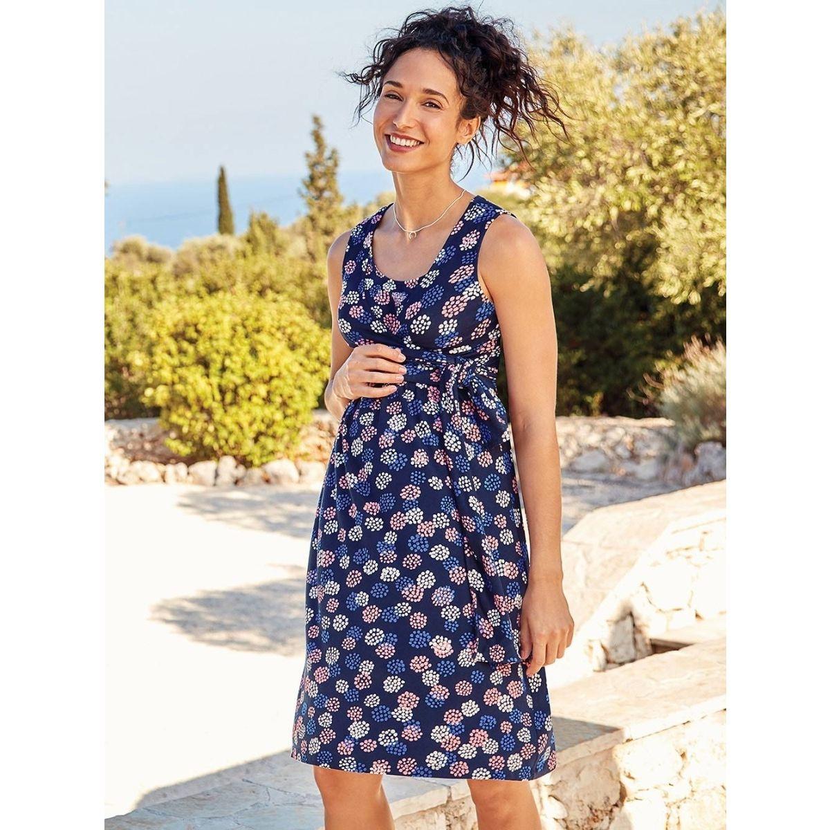 67f78bd5e Vestido Premamá y Lactancia de fiesta azul marino - ShopMami