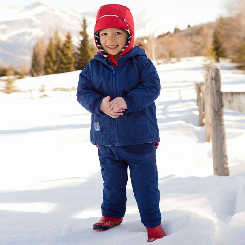 Abrigo polar y reversible para Niños a rayas azules y rojas