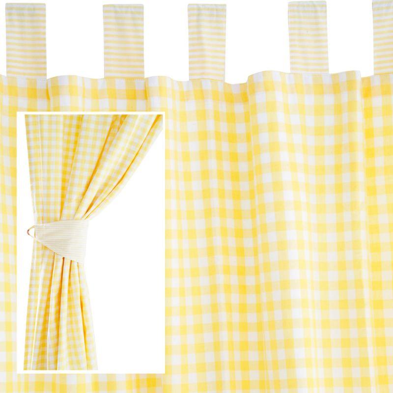 Cortinas para Habitación Infantil a Cuadros Amarillos Grandes