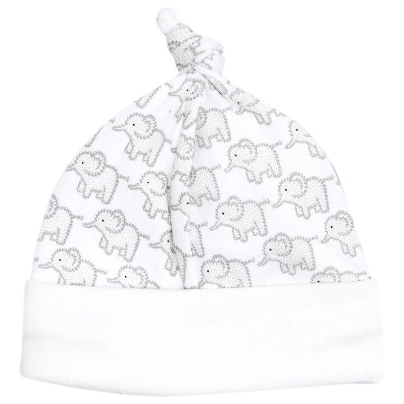 Gorrito Algodón Bebés Estampado Elefantes Grises
