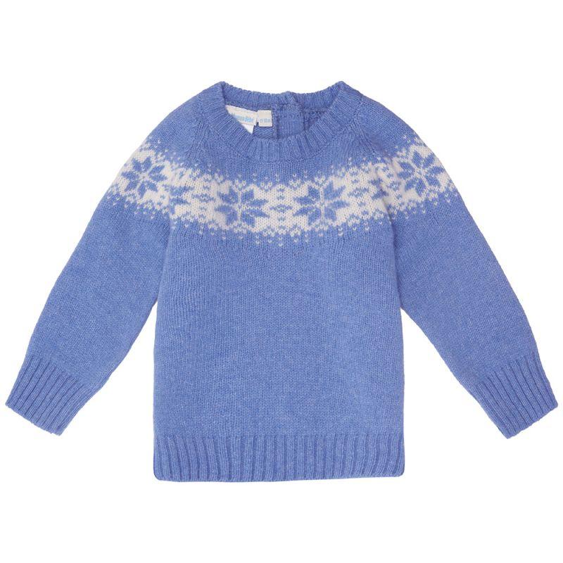 Jersey en color Azul de Cachemir para Niños Copos de Nieve