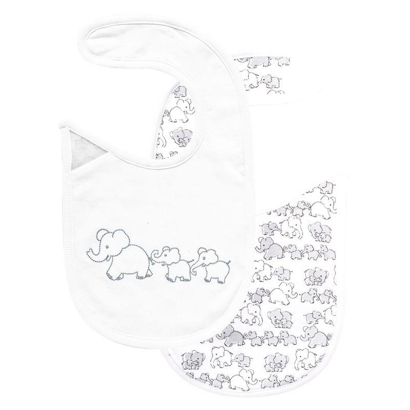 Babero para Bebés Reversible Estampado Elefantes