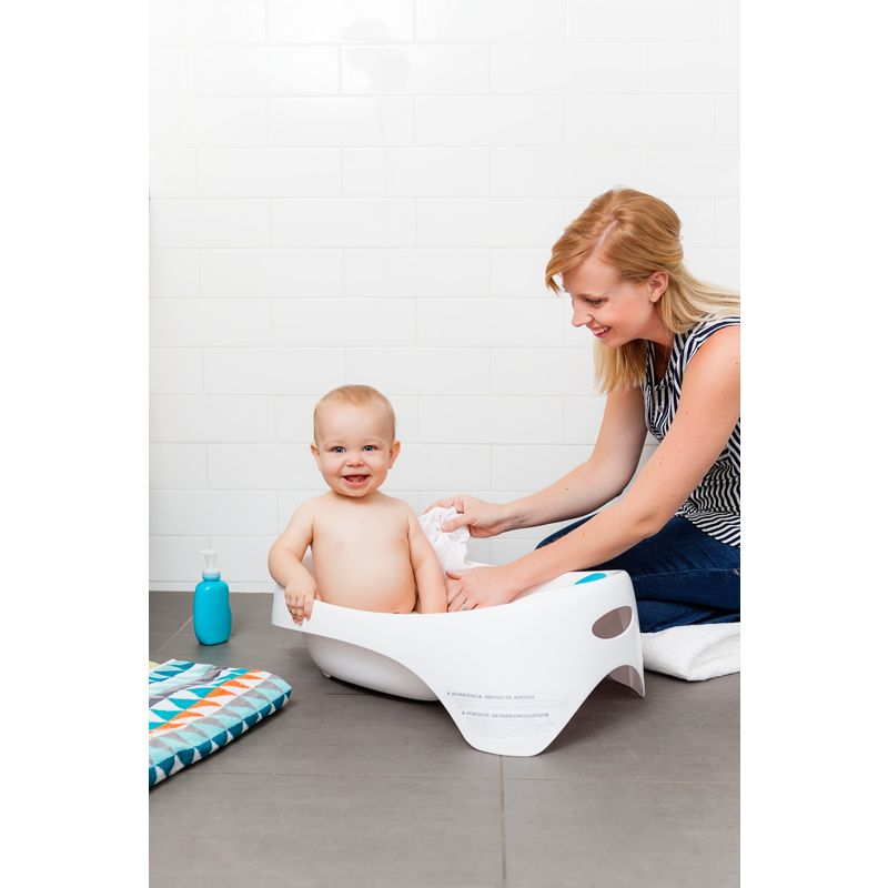 Bañera para Bebé 3 Etapas color Blanco y Azul - Boon Soak