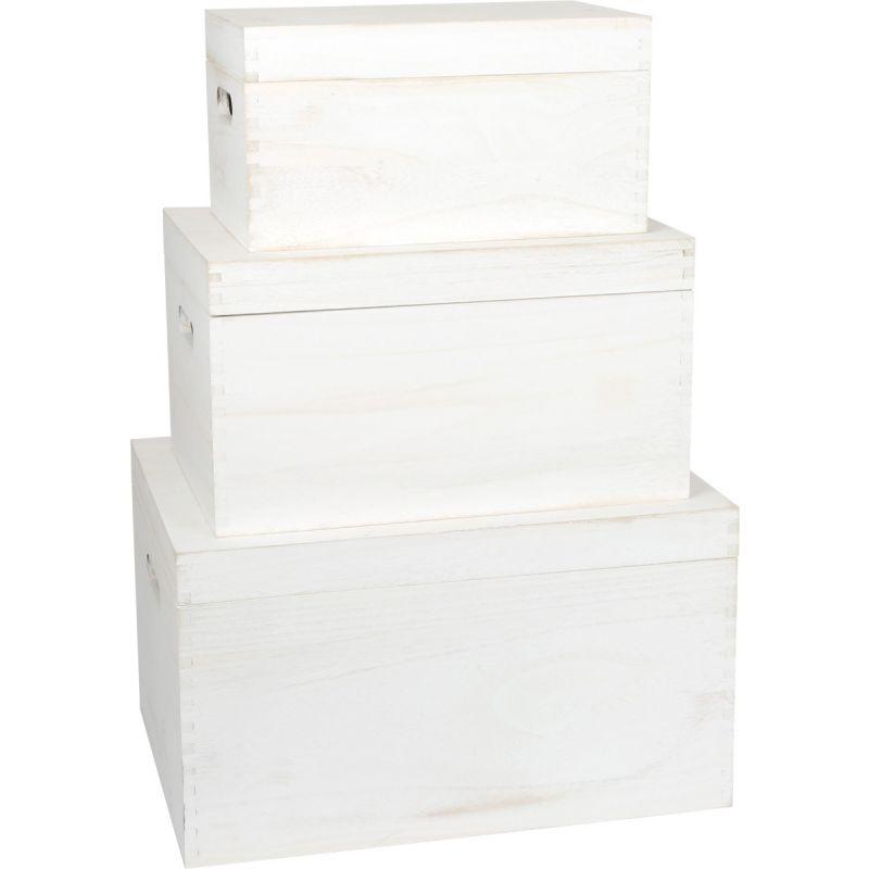 Baúl de madera blanco , set 3 unidades