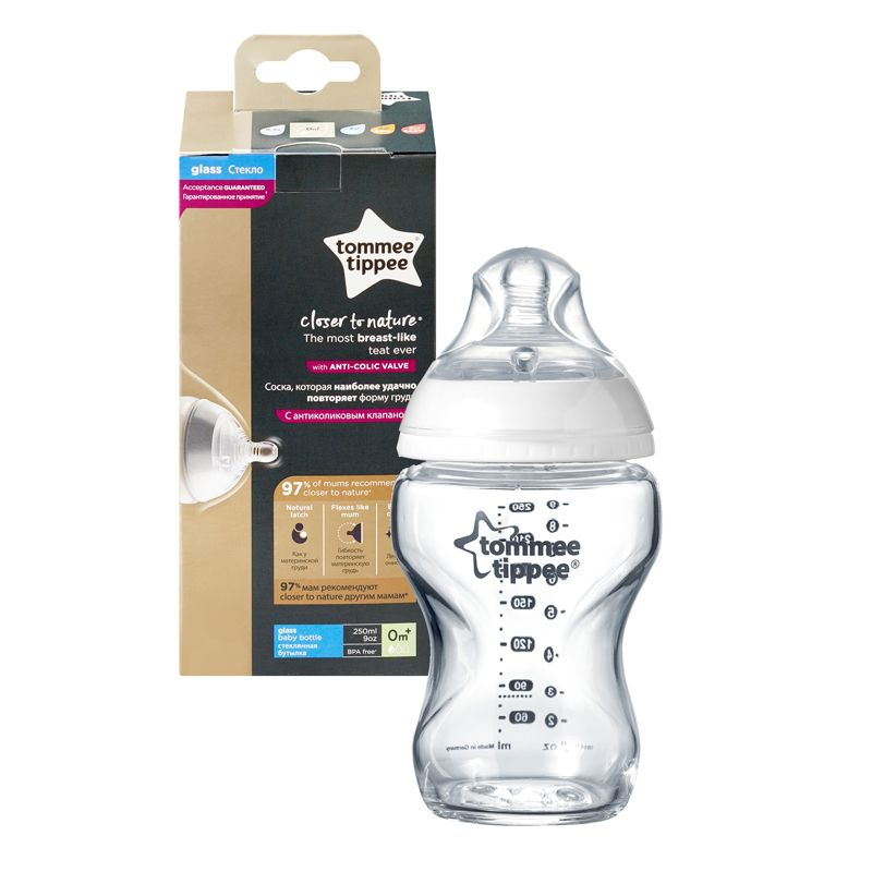 Biberón de cristal Tommee Tippee Closer to Nature 250 ml