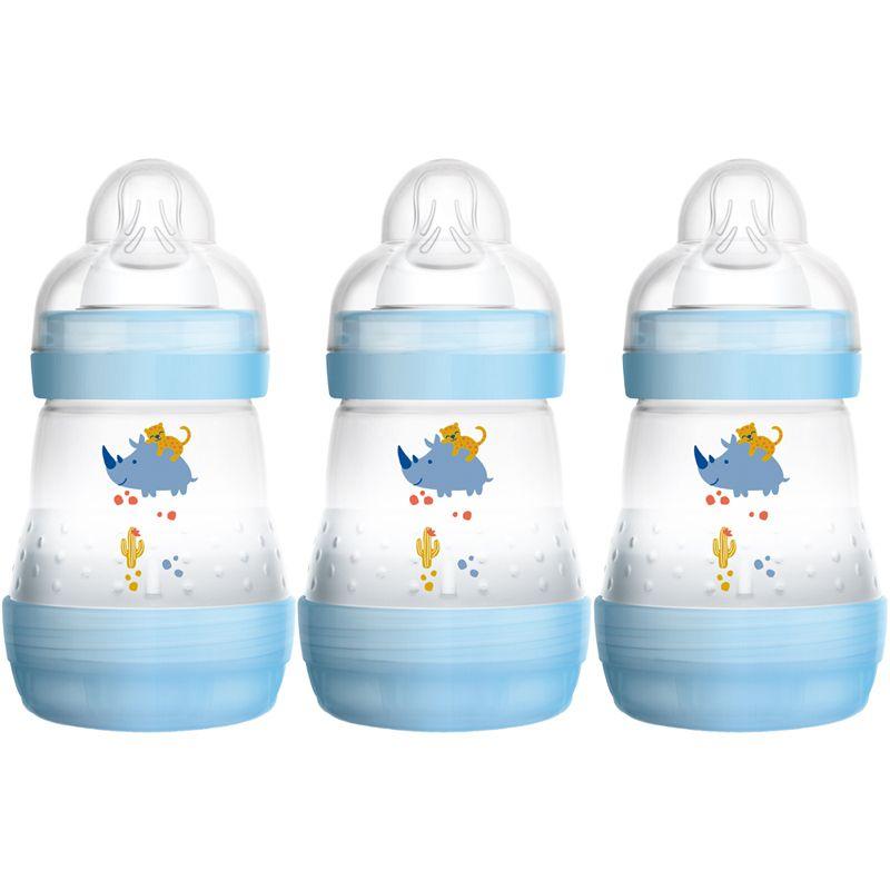 Biberones autoesterilizantes y anticólicos 160 ml Mam azul