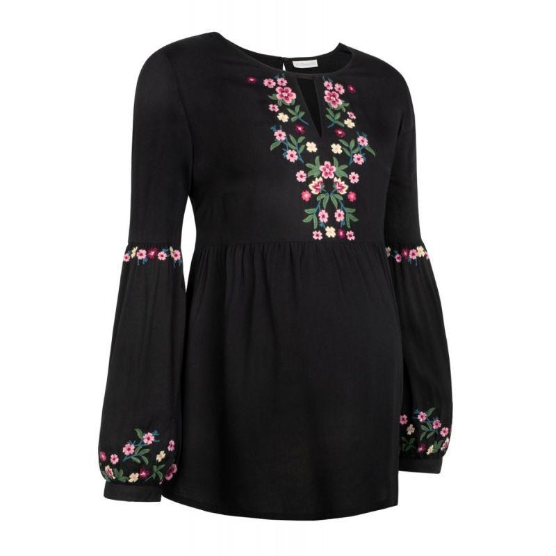 Blusa Premamá Bordada Negra con Flores