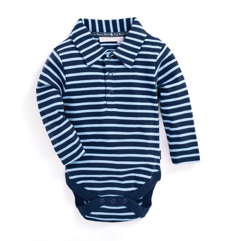 Body Bebé Cuello Polo a Rayas azules