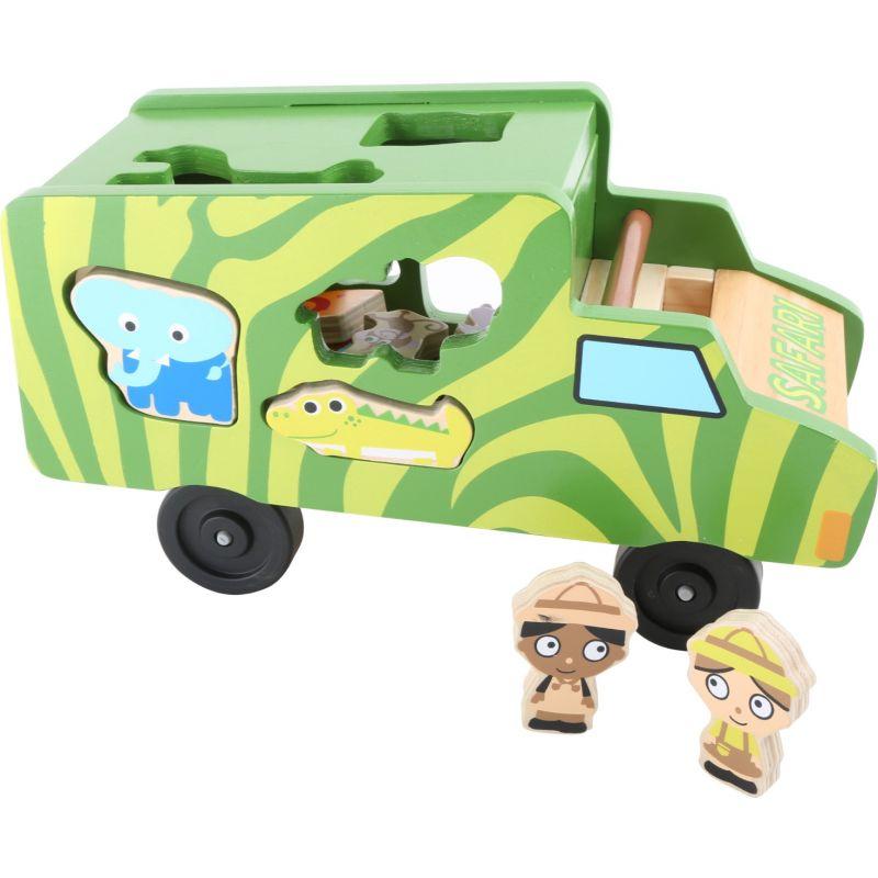 Bus de madera Safari - Juego de encajar piezas