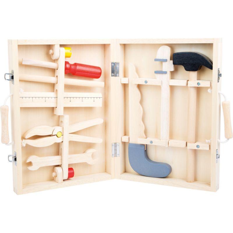 Caja de herramientas de madera - Incluye 8 herramientas