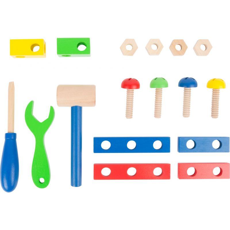 Caja de herramientas multicolor madera