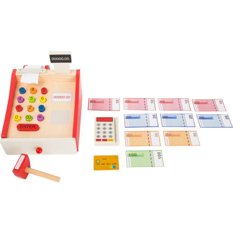 Caja registradora de madera con Rollo de Papel  - 14 piezas