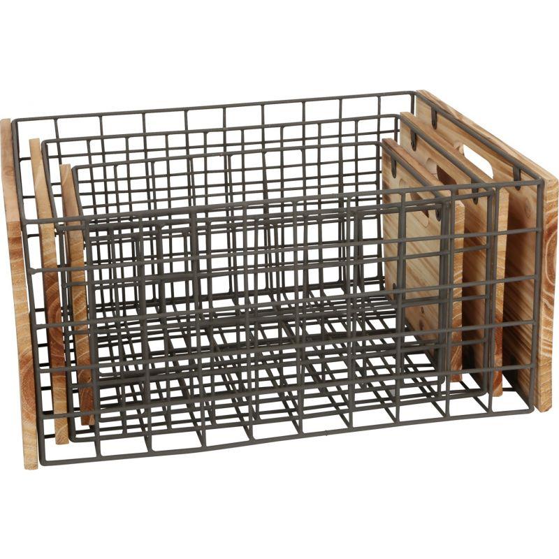 Cajas de madera con rejilla para Decoración y Almacenamiento