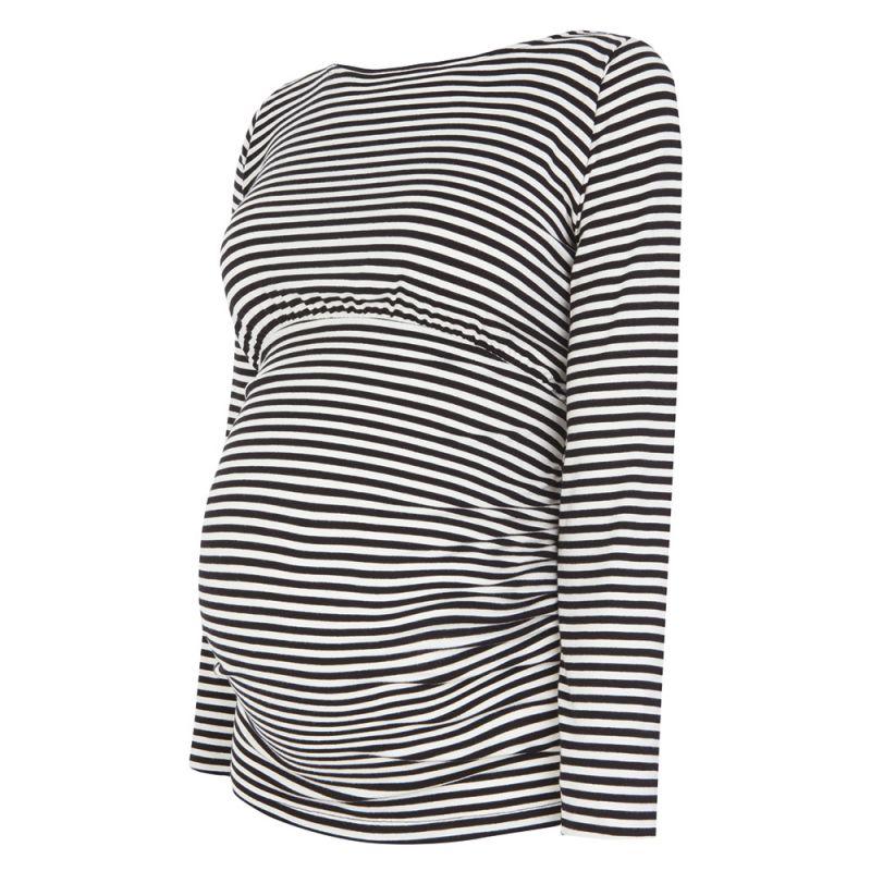 Camiseta Premamá a Rayas Blancas y Negras