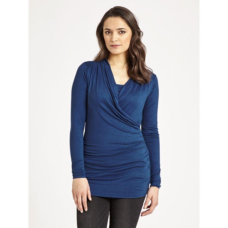 Camiseta de Embarazo y Lactancia Cruzada azul