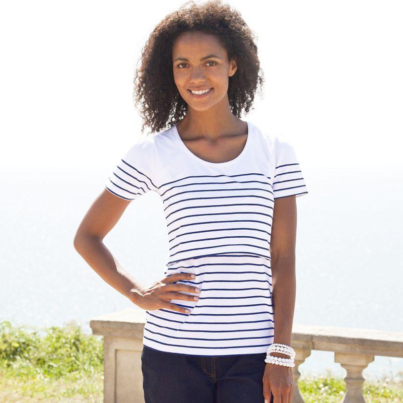 Camiseta Lactancia corta Blanca y Azul