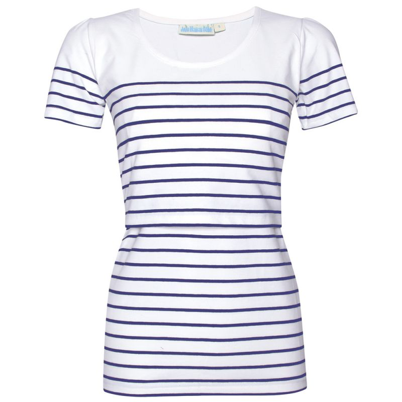 Camiseta de Lactancia de manga corta a Rayas Blancas y Azules