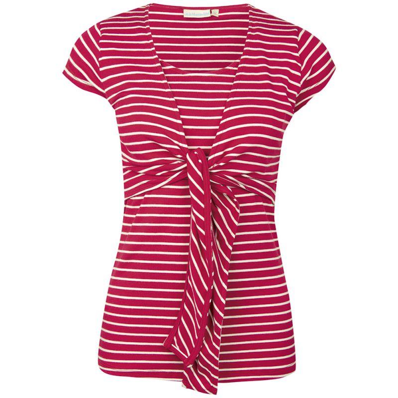 Camiseta de lactancia de manga corta a rayas rojas y blancas estilo marinero