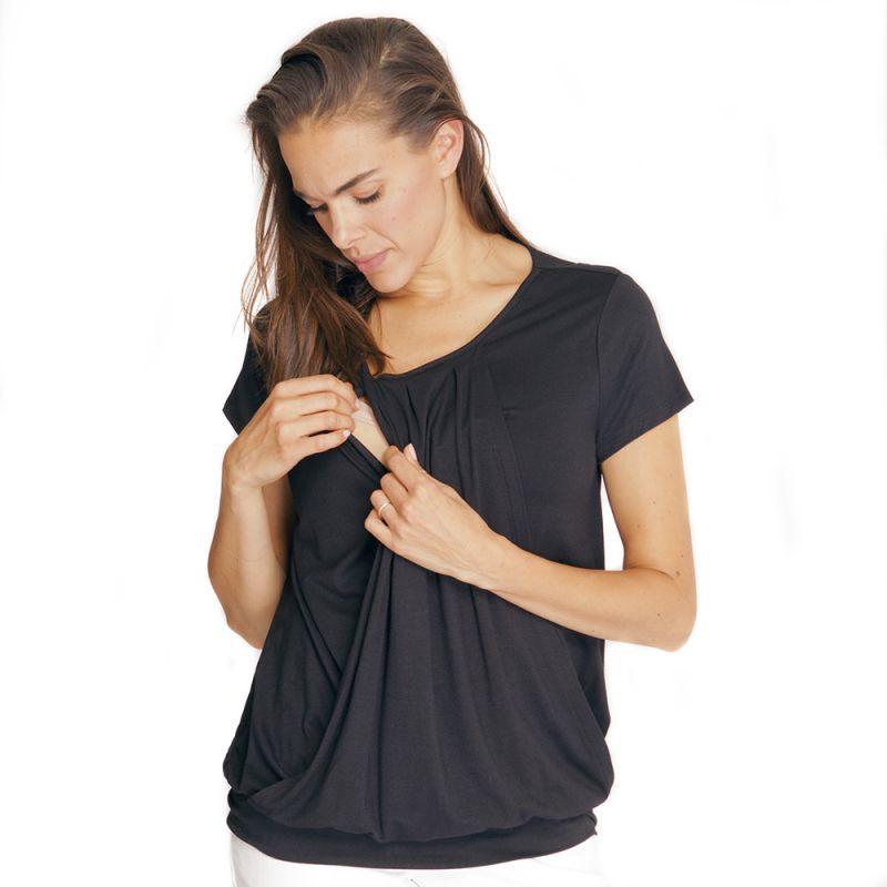 Camiseta Premamá y Lactancia Plisada Negra
