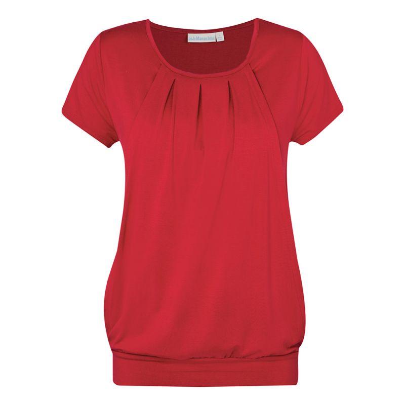 Camiseta Premamá y Lactancia Plisada Roja