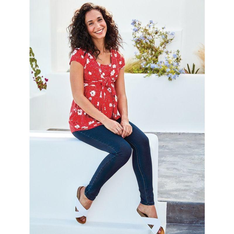 Camiseta Premamá y Lactancia Flores Rojas - Manga Corta