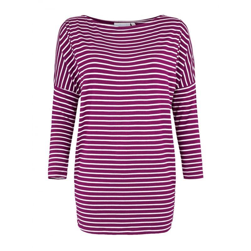 Camiseta Premamá y Lactancia Hombro Caido rayas color vino