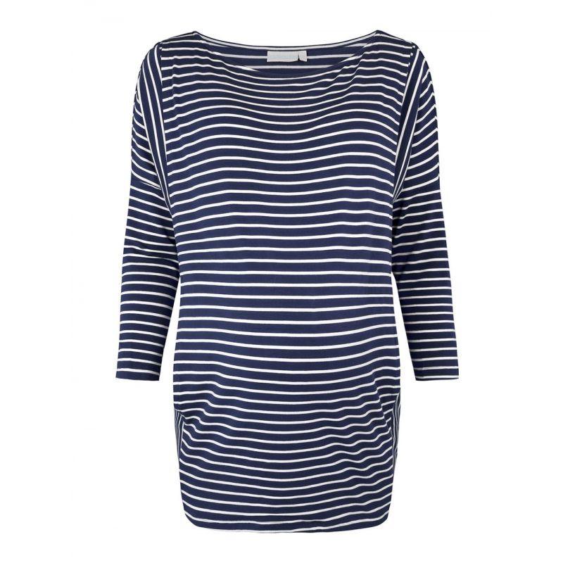 camiseta a rayas azules de premamá y lactancia