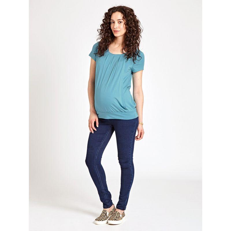 Camiseta Premamá y Lactancia Plisada Azul