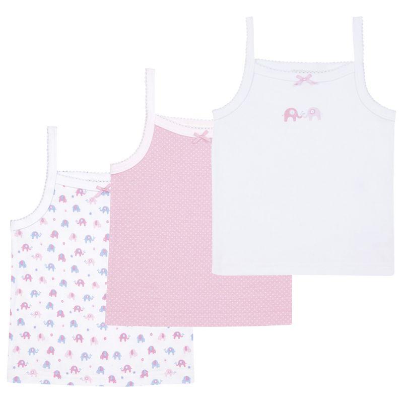 Camisetas Interiores para Niña Blancas y Rosas con estampado de Elefantes.