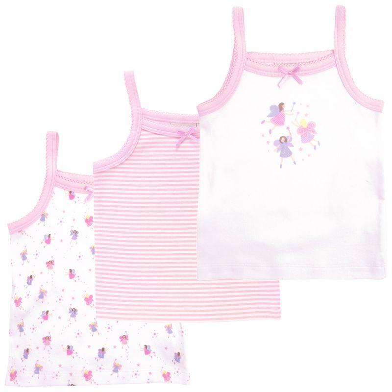 Camisetas Interiores para Niña a rayas  Blancas y Rosas