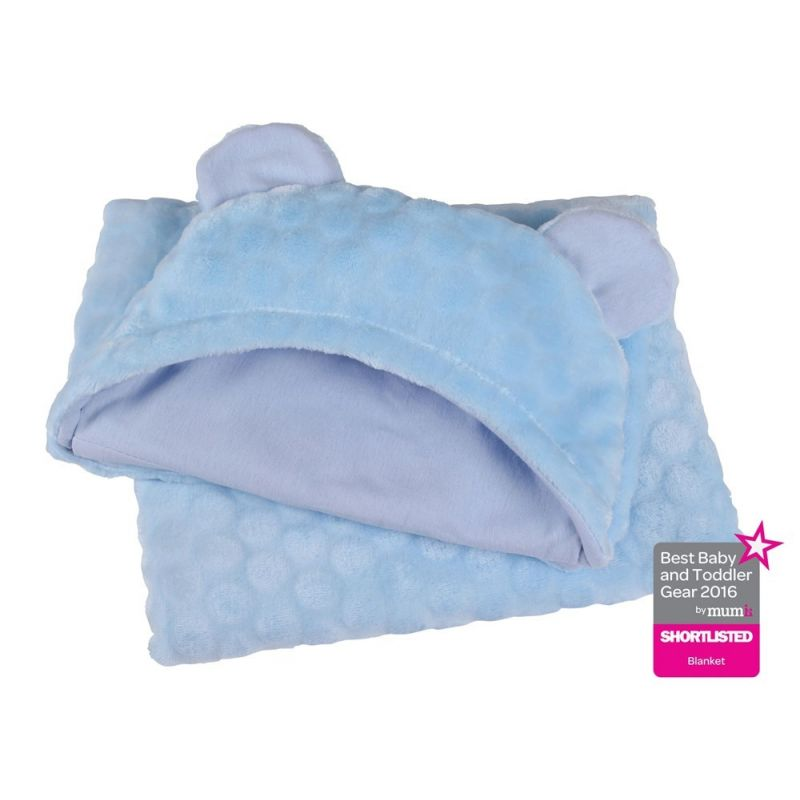 toalla bebe con orejas azul