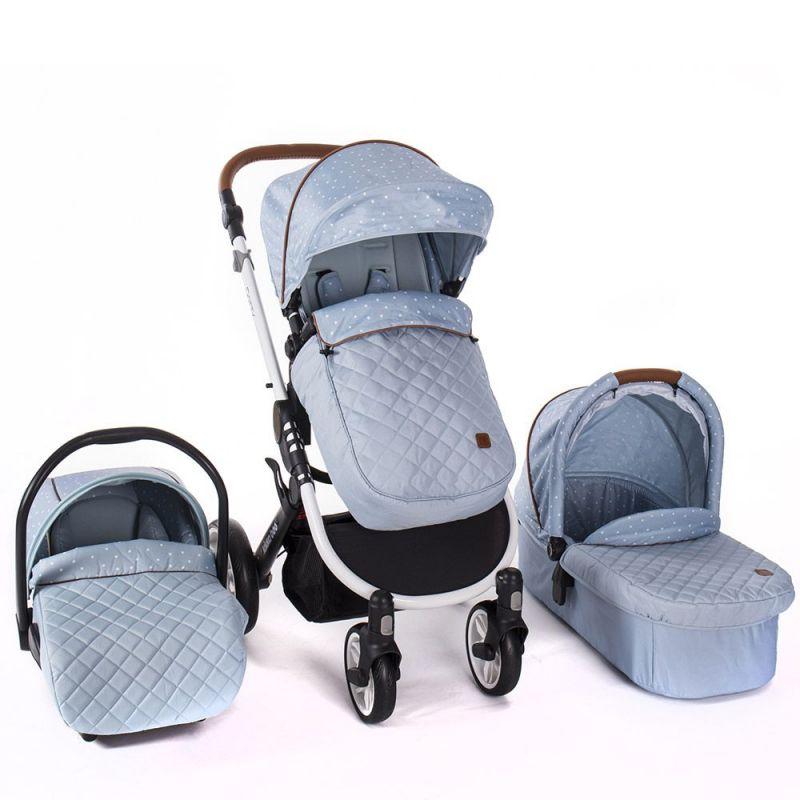Cochecito de Bebé 3 en 1 Dotty azul - Kikkaboo