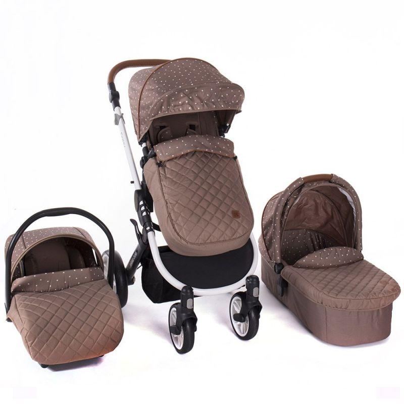Cochecito de Bebé 3 en 1 Dotty marrón - Kikkaboo