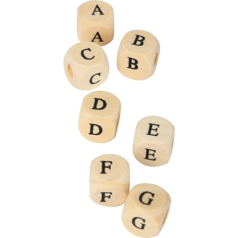 Cubos de madera para Enhebrar letras impresas