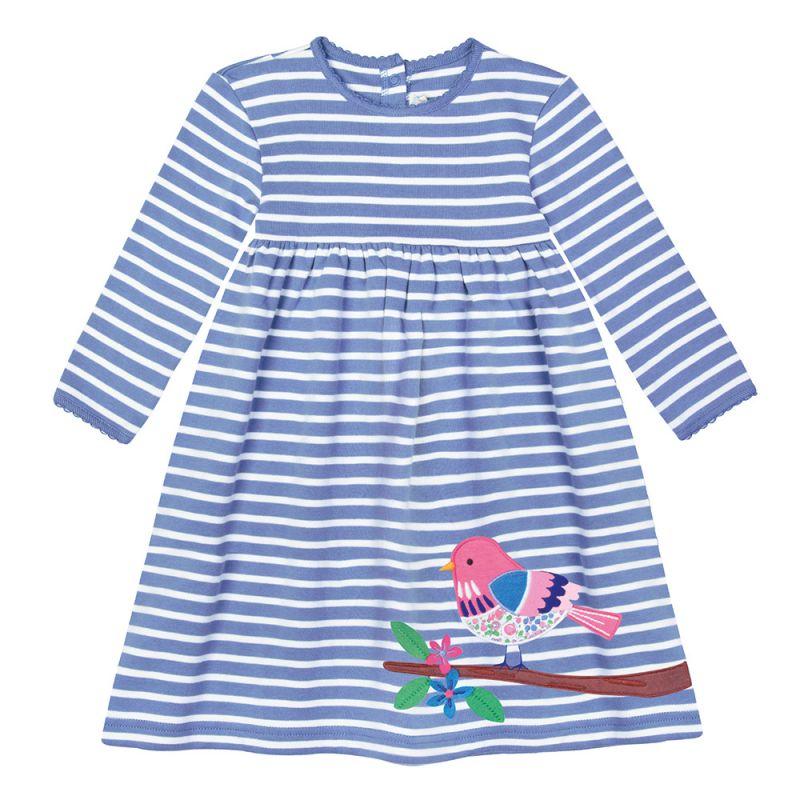 Vestido de Niña de Algodón - Pequeño Pajarito