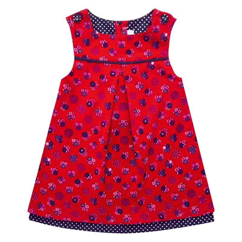 Vestido de pana en color rojo para niñas