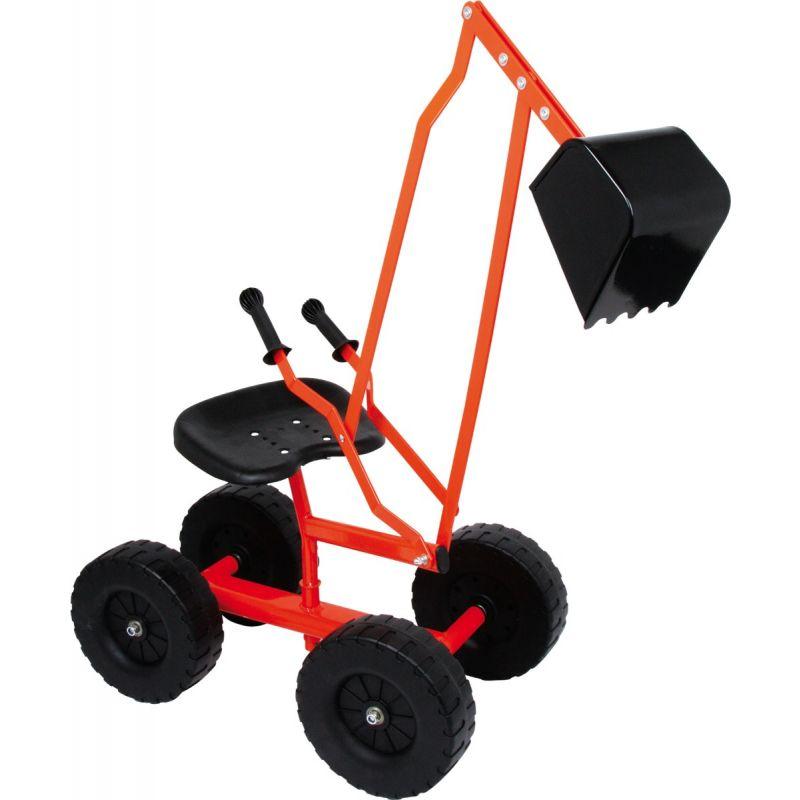 excavadora roja con ruedas