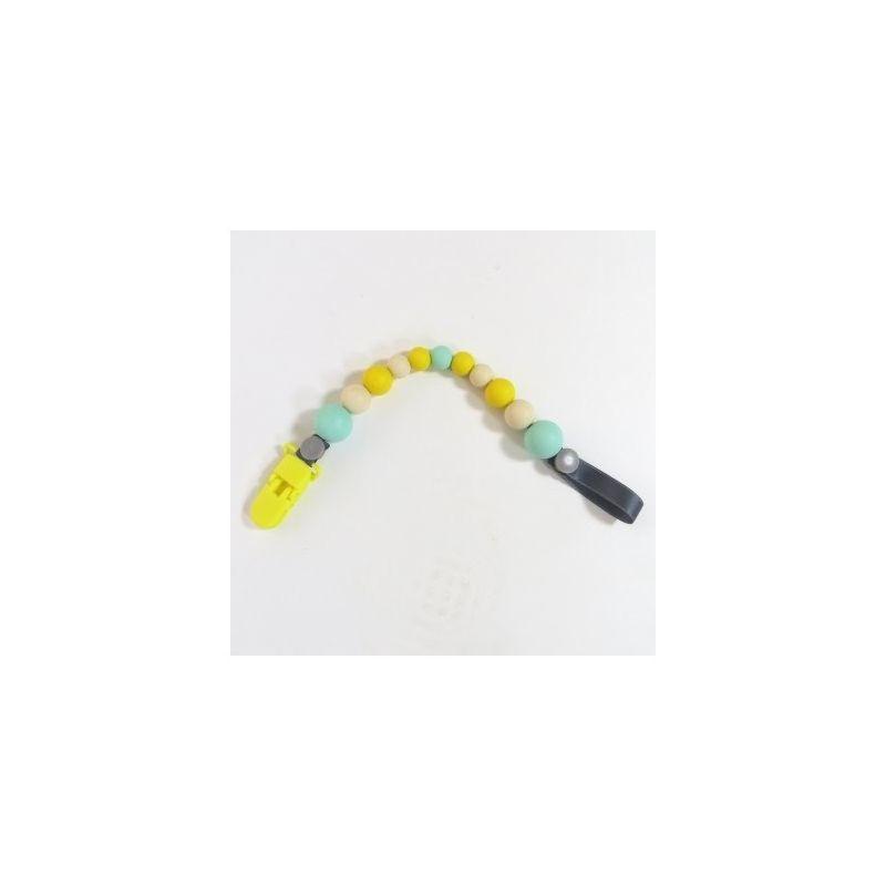 Portachupetes Mordedor de Silicona Funky Floras amarillo