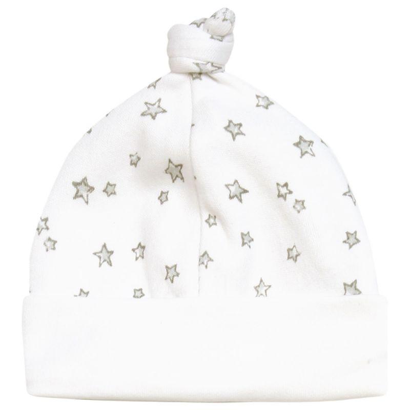 Gorrito Bebé Unisex de algodón Estampado de Estrellitas Grises
