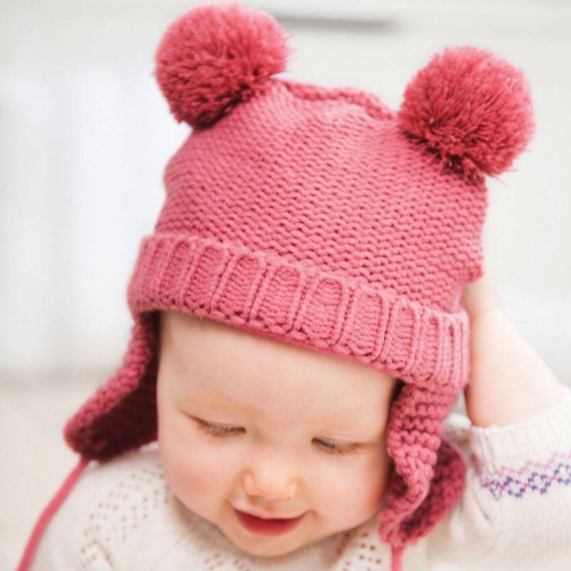 Gorro de Lana rosa con Pompones para Niña