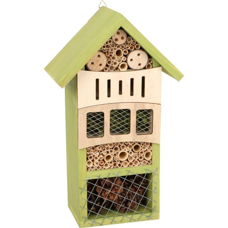 Hotel de insectos en verde - Dimensiones 12 x 10 x 31 cm
