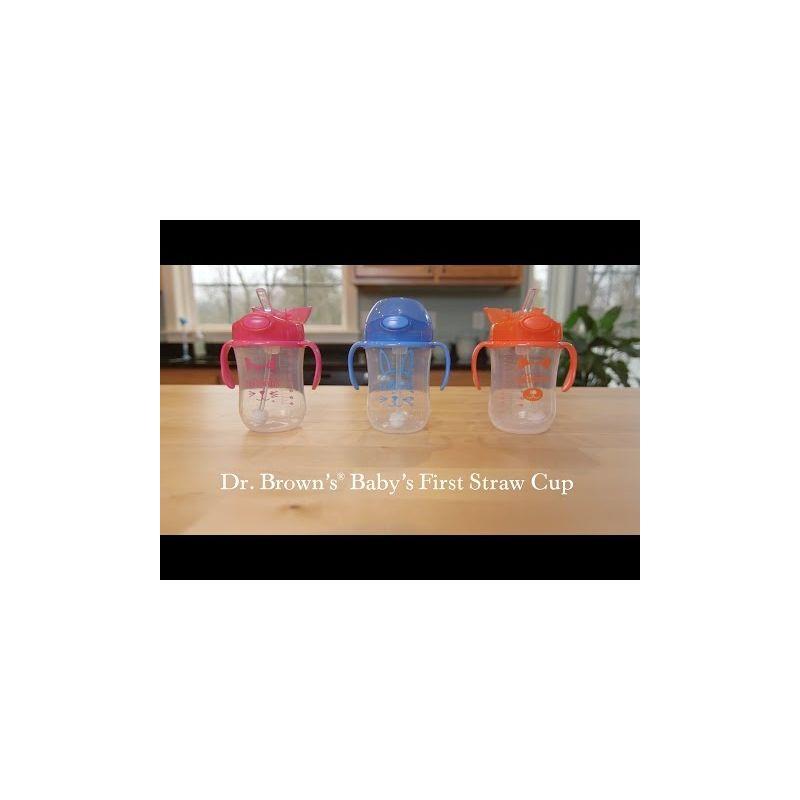 Video Vaso de Entrenamiento con Pajita Azul/Rosa de Dr Brown