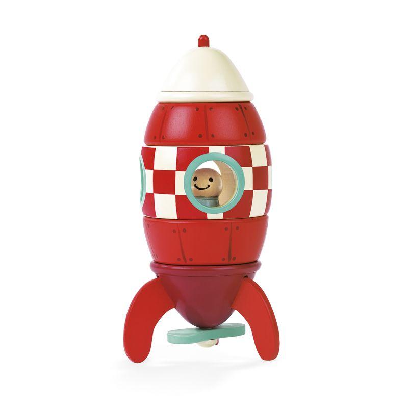 Janod Cohete magnético de madera 5 piezas - 16 cm