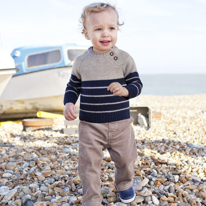 Jersey para Bebés y Niños de Lana en color Gris y Navy