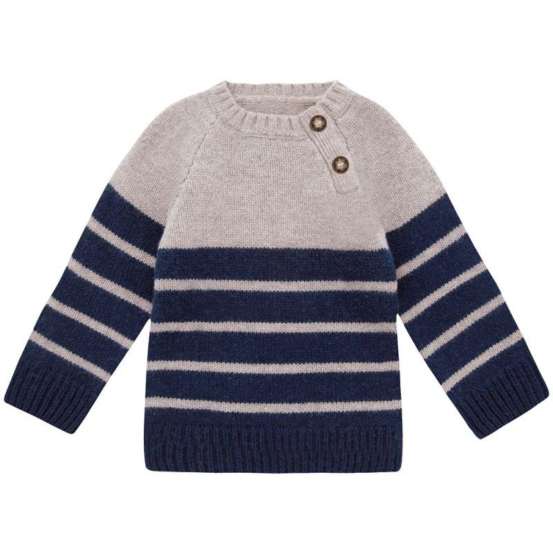Jersey de lana para niños en color Gris y Navy