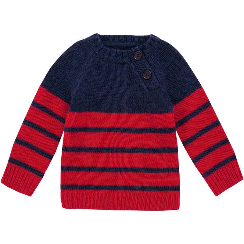 Jersey de lana para niños en color Rojo y Navy