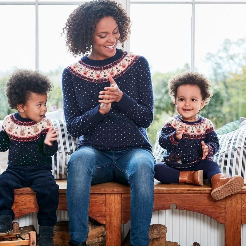 Jersey para Niños Azul de Lana Estampado Renos