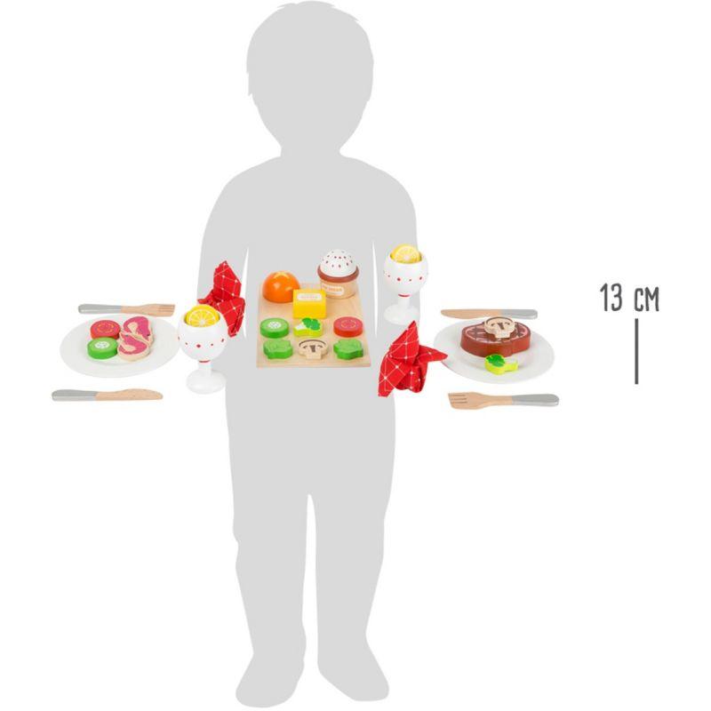 dimensiones Juguete de Madera Set para la Cena